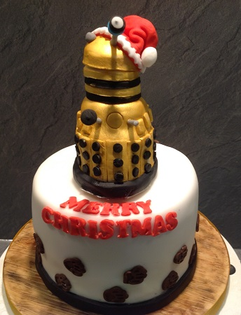Dalek in a santa hat cake