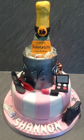 Champagne and ladies fashion cake