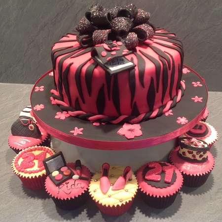Ladies fashion cake and cupcakes