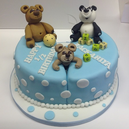 Baby cake with teddy, panda and building blocks